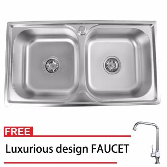 Phoenixhub 78x43x20 Durable and High quality Stainless steelkitchen sink SET with FREE Luxurious design FAUCET