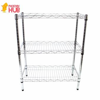 PhoenixHUB Home office Light weight Multi-Purpose  3 ShelfLayered High quality Stainless Steel Shelving Storage Rack SMALL