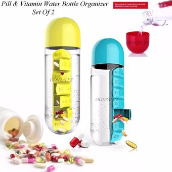 Pill & Vitamin Water Bottle Organizer (Blue and Yellow) Set Of2