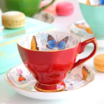 Pinlaiyun European British ceramic Butterfly black tea cup and saucer bone china coffee cup