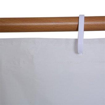 Plain Shower Curtain with free 2pc Shower Cap Set (White) - 5