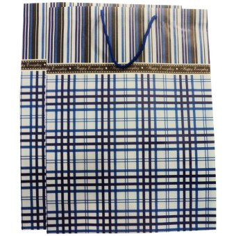 Plastic Bag Large - Checkered B Blue Set of 2