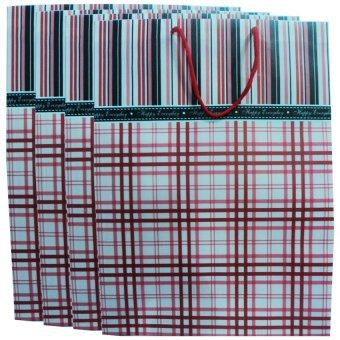 Plastic Bag X-Small - Checkered E Red Set of 4
