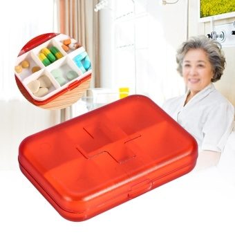Plastic Portable 6 Slots Pills Box Medicine Tablets Storage CaseContainer Holder (Red) - intl