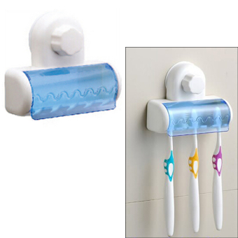 Plastic Toothbrush SpinBrush Suction Cup Holder Organizer ContainerStand Rack Set for Home Bathroom - Intl