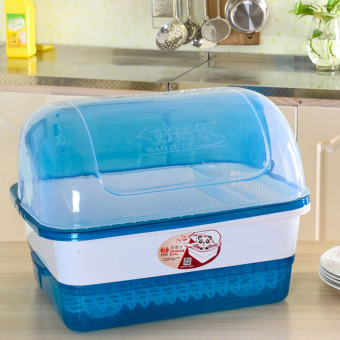 Plastic with lid large dishes drain rack kitchen cupboard