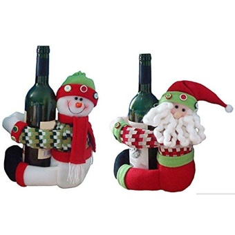 Pontus O.D 2pcs Cute Santa Claus & Snowman Doll Wine Bottle Hold Cover Party Christmas Table Decoration Creative - intl