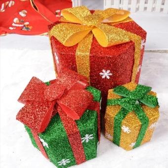 Pontus Snowflake Sisal PVC Hexagon Gift Boxes Christmas Party Yard Art Decorations Green 15cm Creative - intl - picture 2