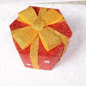 Pontus Snowflake Sisal PVC Hexagon Gift Boxes Christmas Party Yard Art Decorations Green 15cm Creative - intl