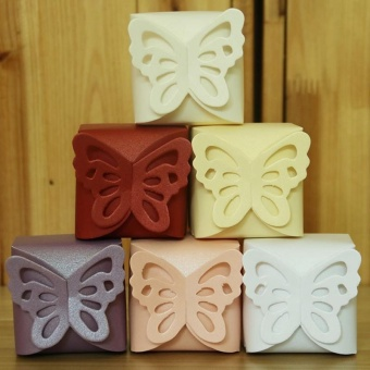 Pontus Urparcel 50pcs Butterfly Party Wedding Favor Boxes CandyGift Boxes Purple Creative - intl