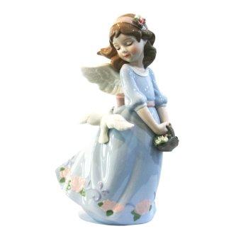 Porcelain Girl Angel Holding Flower