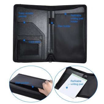 Portable Business Portfolio Padfolio Folder Document Case Organizer A5 PU Leather with Business Card Holder Memo Note Pad Black - intl