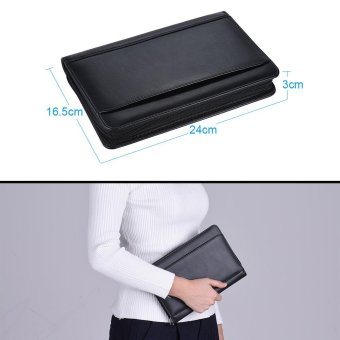Portable Business Portfolio Padfolio Folder Document Case Organizer A5 PU Leather with Business Card Holder Memo Note Pad Black - intl - 5