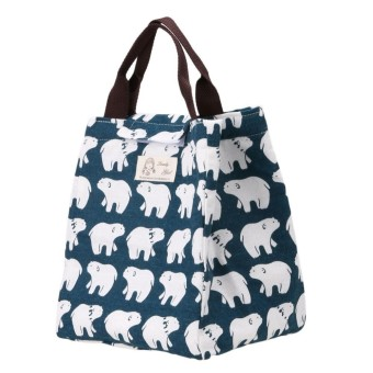 Portable Canvas Thermal Lunchbox Tote Bag - intl