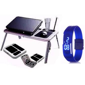 Portable Foldable Laptop E-Table With Cooling Fan with FashionCandy Led Watch Color May Vary