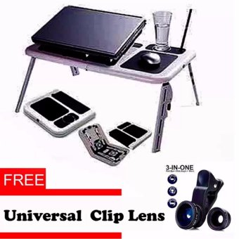 Portable Foldable Laptop E-Table With Cooling Fan with Free Universal Clip Lens
