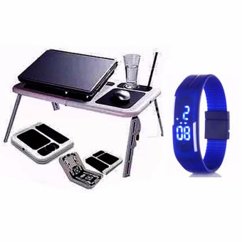 Portable Foldable Laptop E-Table With Cooling Fan with Led WatchColor May Vary