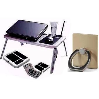 Portable Foldable Laptop E-Table With Cooling Fan with Ring HolderColor May Vary