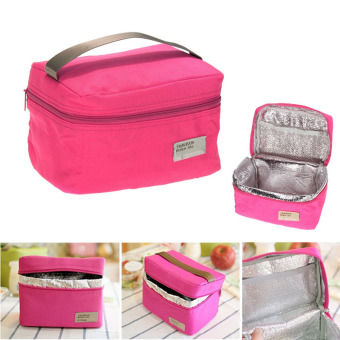 Portable Insulated Thermal Cooler Bento Lunch Box Tote Picnic(RoseRed)