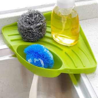 Portable Kitchen Sink Corner Storage Rack Sponge Holder WallMounted Tool Green