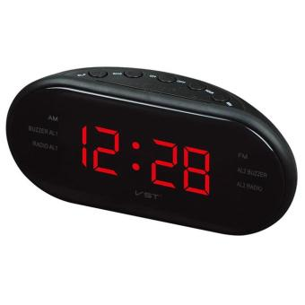 Portable LED Alarm Clock Radio Digital AM/FM Radio Red With EU Plug- intl