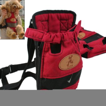 Portable Pet Travel Carrier Dog Backpack Chest Pet Bags Dog Pack Bag Double-shoulder Prothorax Bags S Size For Pets Within 2500g Red