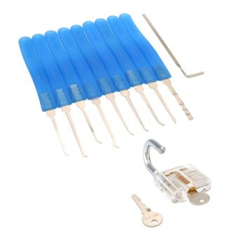 Practice Padlock w/ 10pcs Unlocking Lock Pick Locksmith Key Extractor Tools Set - 3