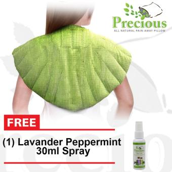 Precious Herbal Pillow Upper Back Herbal Pad Microwave Hot and Cold Compress Pain Reliever with Lavander and Peppermint 30ml Spray (Green)