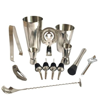 Premium Shaker Barware Set - 13 Pieces Bartender Kit IncludesShaker , Rack, Spoon, Pourer, Straw & Ice Tong Cocktail Shaker- intl