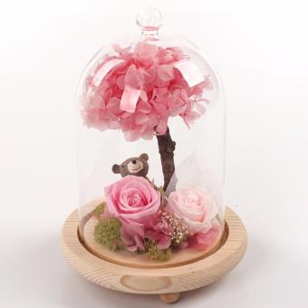 Preserved Rose Flower with Teddy Bear in a glass cover (Pink)