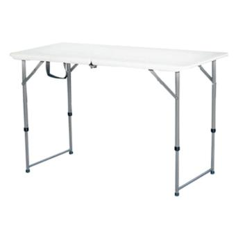 Primetime 4 Ft. Rectangular Multi-purpose Fold-in-Half Dual Height Plastic Table (Pure White)
