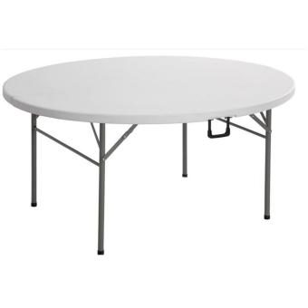 Primetime 5 Feet Round Diameter Fold-in-Half Round Plastic Table with Fold-Away Legs (White)