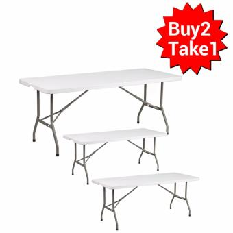 Primetime 6 Ft. Rectangular Fold-in-Half Multi-purpose Folding Plastic Table (Pure White) Buy 2 Take 1