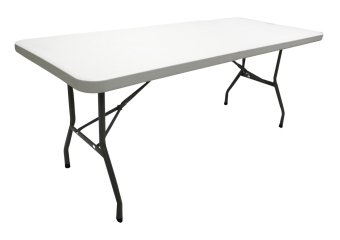 Primetime 6 Ft. Rectangular Solid Multi-purpose Folding Plastic Table (Pure White)