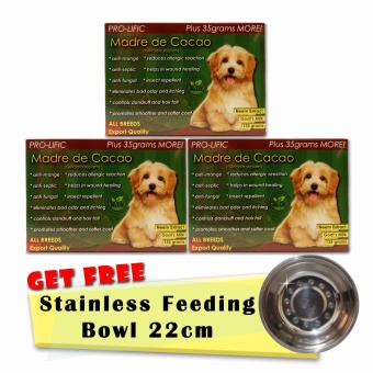 Prolific Madre de Cacao Organic Soap for Cat and Dog 130g Set of 3 with Free Stainless Feeding Bowl