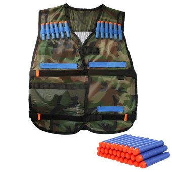 Protective Waterproof Elite Tactical Vest with 100 PCS Blue Darts for Nerf N-strike Elite Series Camouflage - intl