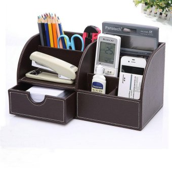 PU Leather Desk Organizer Pen Pencil Business Cards Remote ControlPhone Cosmetics Holder Storage Box Home Office Supplies - intl