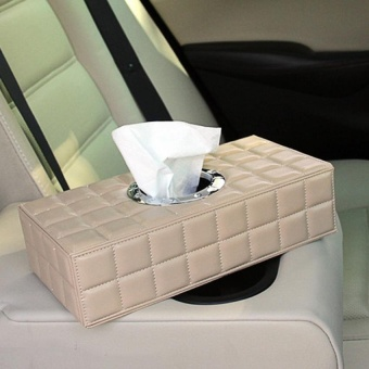 PU Leather Tissue Box Case Paper Holder Car Napkin Holder Beige -intl - 3