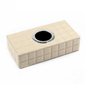 PU Leather Tissue Box Case Paper Holder Car Napkin Holder Beige -intl - 2