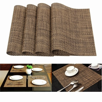 PVC Dinner 4 Pcs Table Placemats Bowl Cup Coasters Thicken ClothInsulation Kitchen Mats(Coffee) - Intl