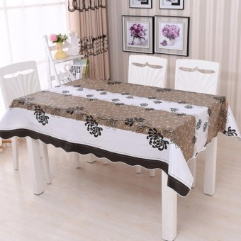 PVC Rectangular Waterproof Oilproof Printed Plastic Table Covers Anti Hot Coffee Tablecloths - intl