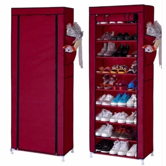 Quality 10 Layer 9 Grid Shoe Rack Storage Shelf Organizer CabinetCover Pockets (Red)