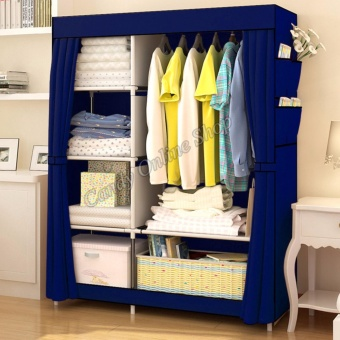 Quality Fashion Multifunction Cloth Wardrobe Storage Cabinets 77105(Navy Blue)