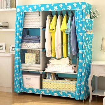 Quality Fashion Multifunction Cloth Wardrobe Storage Cabinets (Bluefeet)