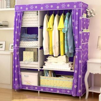 Quality Fashion Multifunction Cloth Wardrobe Storage Cabinets(Purple sunflower)