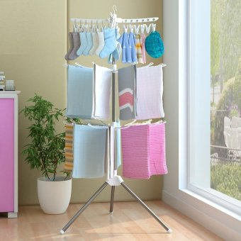 Quality Stainless Steel Collapsible Drying Racks Indoor FloorSingle/double Hanger, Heavy Duty Drying Rack Clothes Rack forLaundry - intl