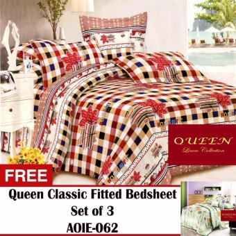 Queen Classic Linen Collection Fitted Bedsheet Set of 3(AOIE-061) with Free Queen Classic Linen Collection Fitted Bedsheet Set of 3(AOIE-062)