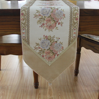 RAFFAELLO gold and silver embroidered table runner European coffee table cloth mat table cloth