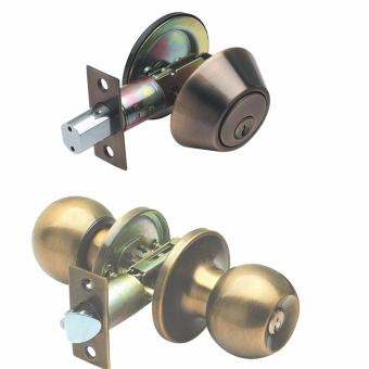 Raider Combo Door Lockset and Deadbolt - Antique Brass