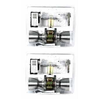 Raider Satin Stainless Steel Flat Handle Door Knob Lockset (2 Sets) - 2